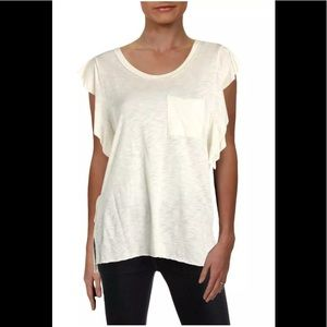 Free People So Easy Ivory Raw Hem Flutter T-shirt